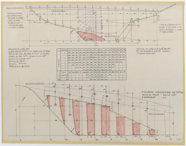 PLAN DE DERIVE/QUILLE - GELINOTTE  COURSE CROISIERE 10,50 M (1955)