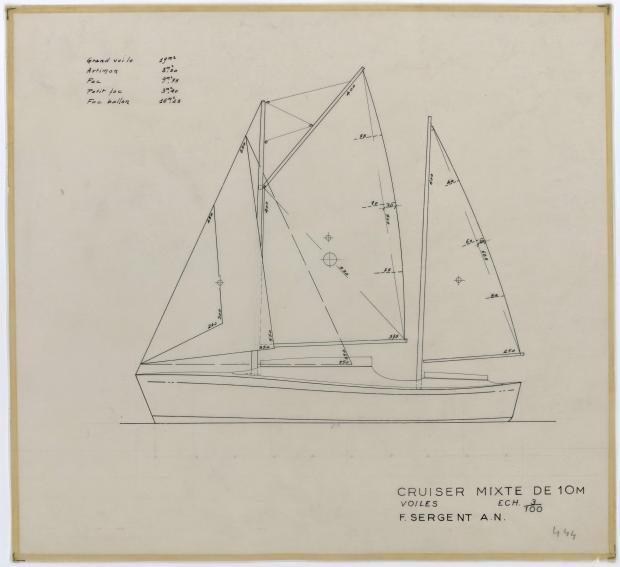 PLAN DE VOILURE/GREEMENT - CRUISER MIXTE 10 M (1956)