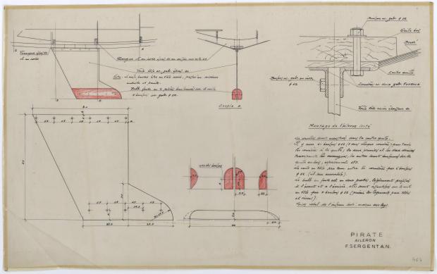 PLAN DE DERIVE/QUILLE - PIRATE 5,75 m (1956)