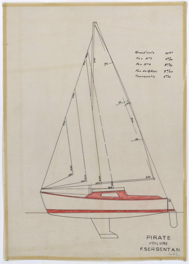 PLAN DE VOILURE/GREEMENT - PIRATE 5,75 m (1956)