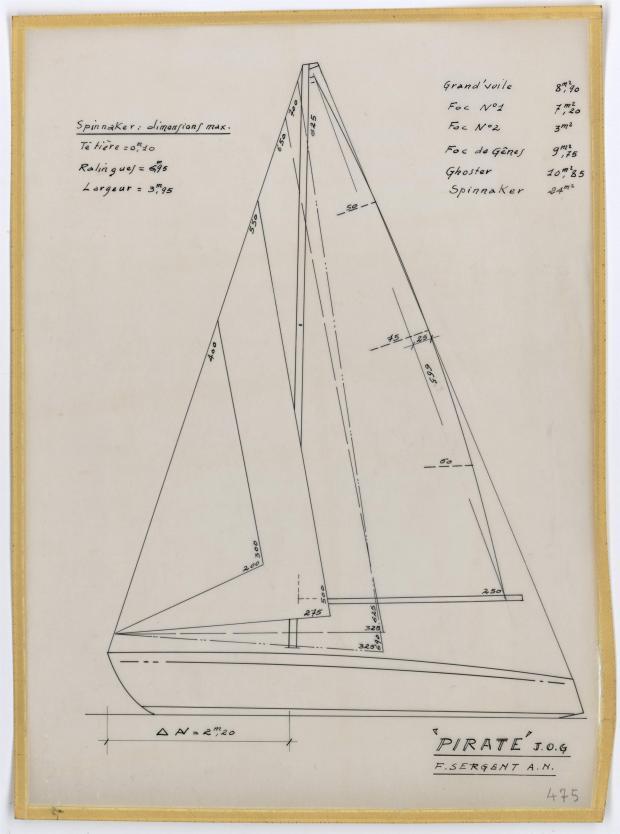 PLAN DE VOILURE/GREEMENT - PIRATE 5,75 m (1956)