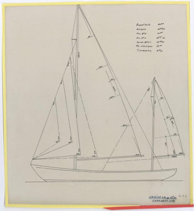 PLAN DE VOILURE/GREEMENT - CRUISER  13,50 M (1956)