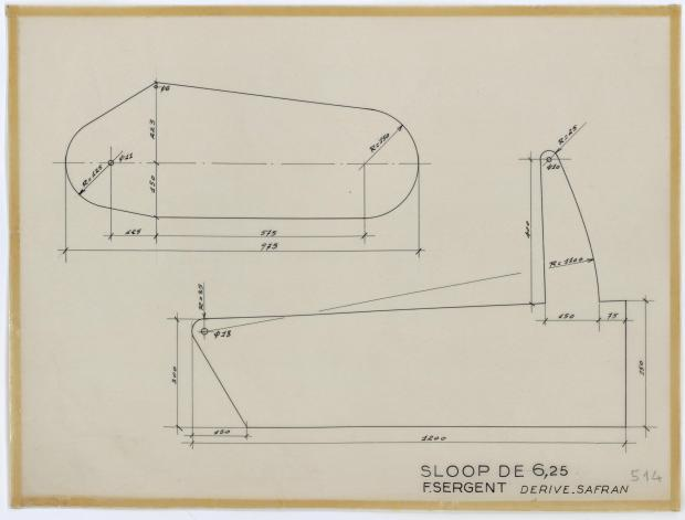 PLAN DE DERIVE/QUILLE - DENTY SLOOP  6,25 m (1957)