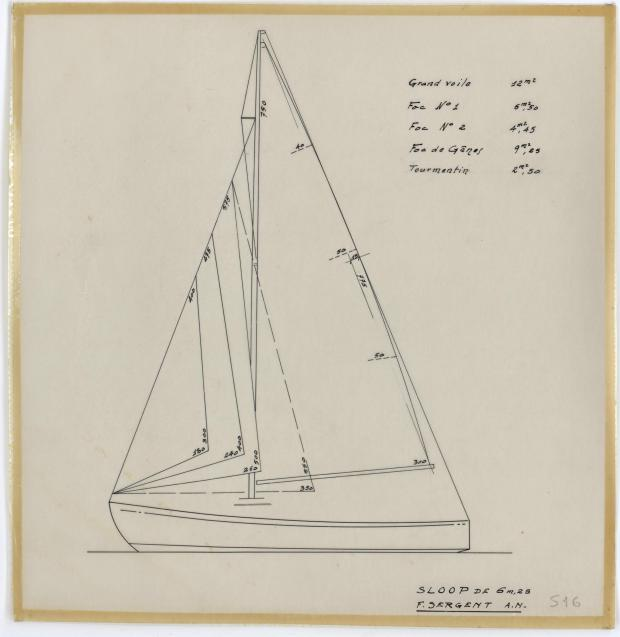 PLAN DE VOILURE/GREEMENT - DENTY SLOOP  6,25 m (1957)