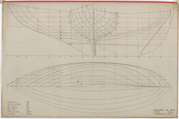 PLAN DE COQUE - DEJA   CRUISER 8,50 m (1957)