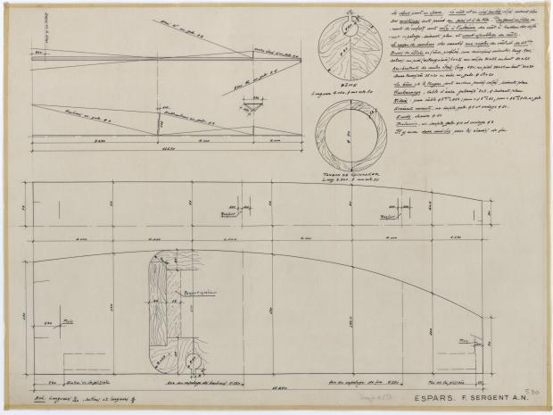 PLAN DE VOILURE/GREEMENT - DEJA   CRUISER 8,50 m (1957)