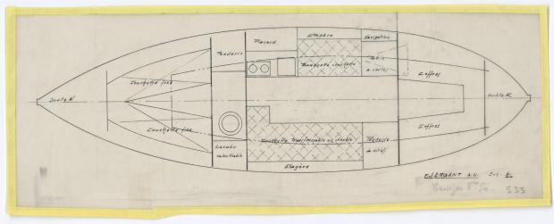 PLAN D'AMENAGEMENT  - DEJA   CRUISER 8,50 m (1957)
