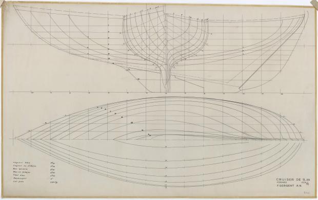 PLAN DE COQUE - CABRETTE CRUISER NORVEGIEN 9,25 m (1957)