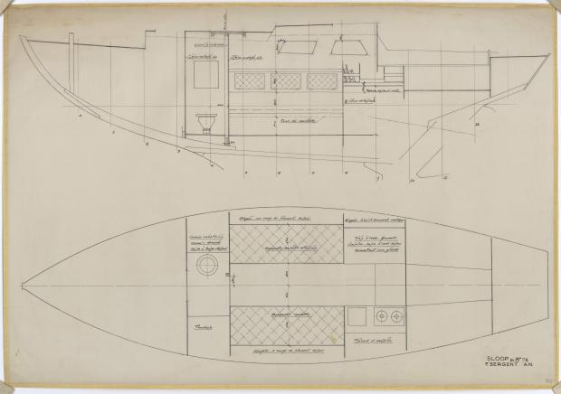 PLAN D'AMENAGEMENT  - SLOOP 8,75 M (1957)
