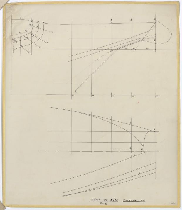 PLAN DE COQUE - SLOOP 8,75 M (1957)