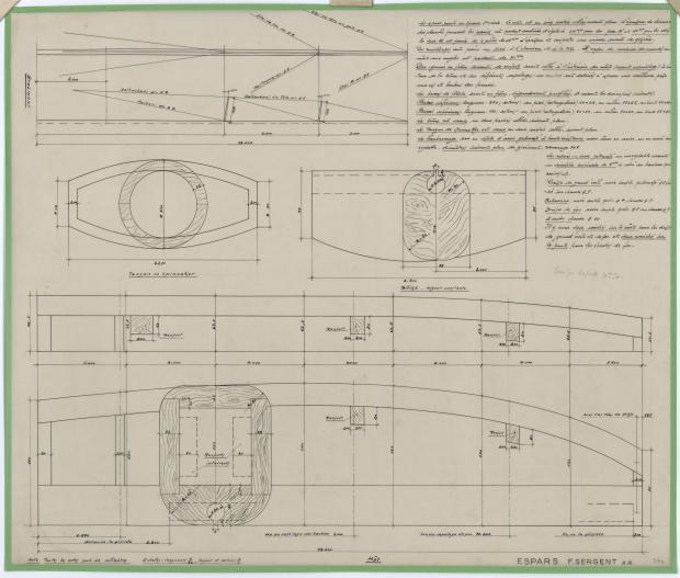 PLAN DE VOILURE/GREEMENT - AOUFFA II 14 m   (1958)