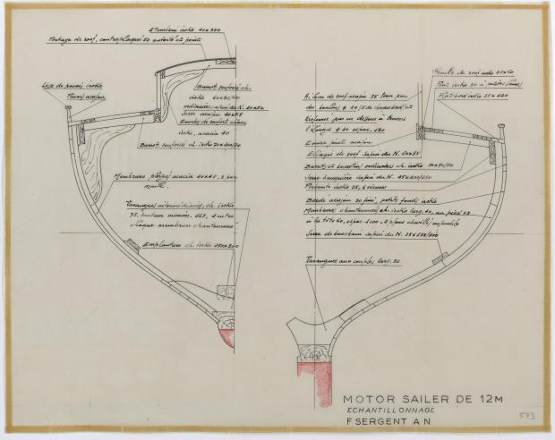 PLAN DE CONSTRUCTION - MOTOR SAILER DE 12 m (1958)