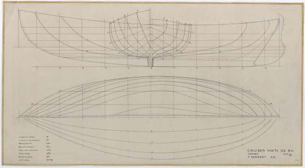 PLAN DE COQUE - CRUISER MIXTE DE 8 M (1958)