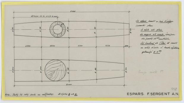 PLAN DE VOILURE/GREEMENT - CRUISER MIXTE DE 8 M (1958)