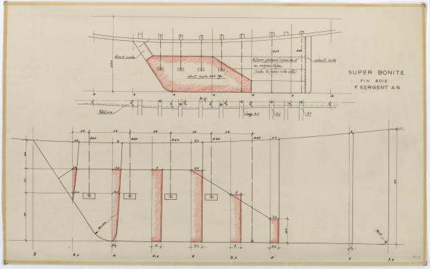 PLAN DE DERIVE/QUILLE - SUPER BONITE 8,50 m (1959)