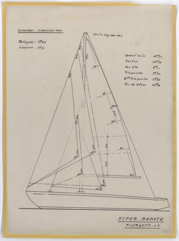 PLAN DE VOILURE/GREEMENT - SUPER BONITE 8,50 m (1959)