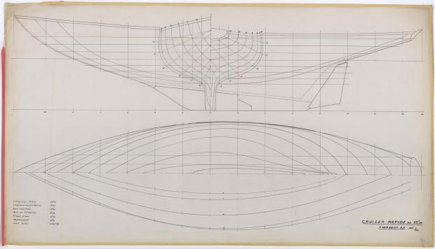 PLAN DE COQUE - CRUISER RAPIDE DE 13,75 m à dérive (1959)