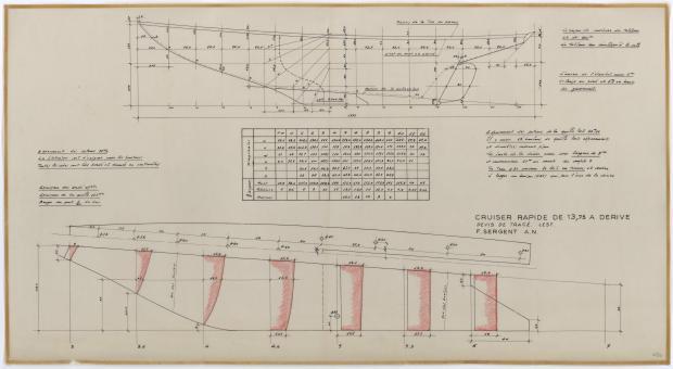 PLAN DE DERIVE/QUILLE - CRUISER RAPIDE DE 13,75 m à dérive (1959)