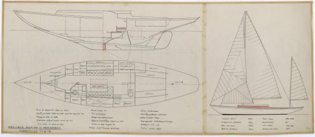 PLAN GENERAL - CRUISER RAPIDE DE 13,75 m à dérive (1959)