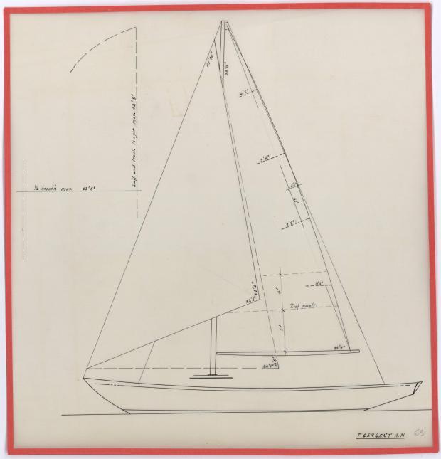 PLAN DE VOILURE/GREEMENT - BIMBAM CRUISER RAPIDE DE 12 m (1959)