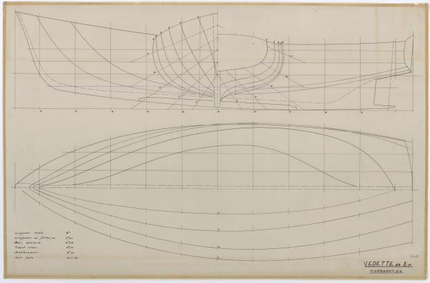 PLAN DE COQUE - VEDETTE  8 m (1960)