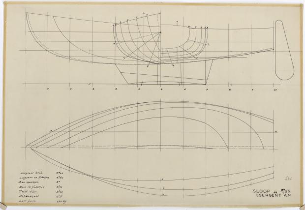 PLAN DE COQUE - SLOOP DE 5,25 m (1960)