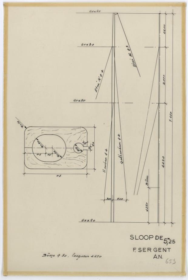 PLAN DE VOILURE/GREEMENT - SLOOP DE 5,25 m (1960)
