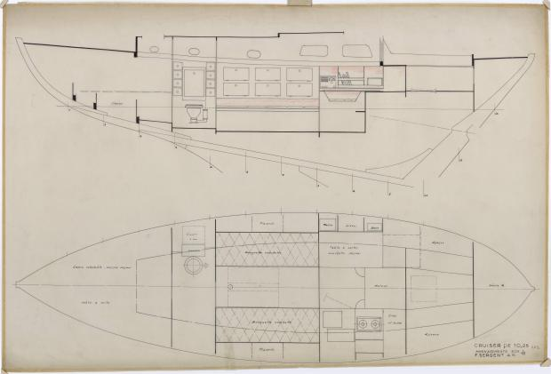 PLAN D'AMENAGEMENT  - TALLY-HO CRUISER 10,25 m  (1960)
