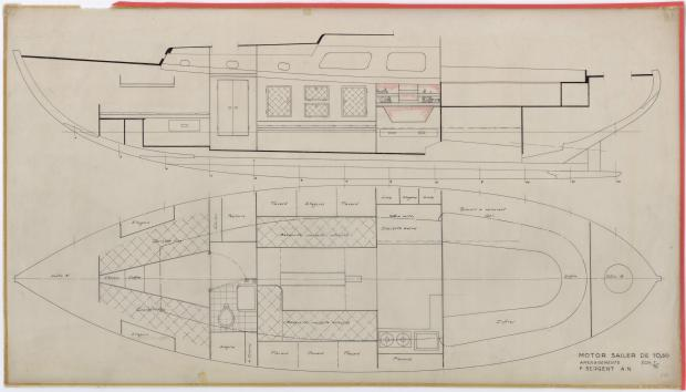 PLAN D'AMENAGEMENT  - FANTASQUE MOTOR SAILOR  10,50 m (1960)