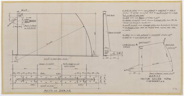 PLAN DE DERIVE/QUILLE - FANTASQUE MOTOR SAILOR  10,50 m (1960)