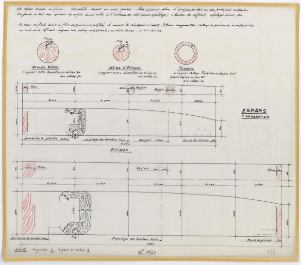 PLAN DE VOILURE/GREEMENT - FANTASQUE MOTOR SAILOR  10,50 m (1960)