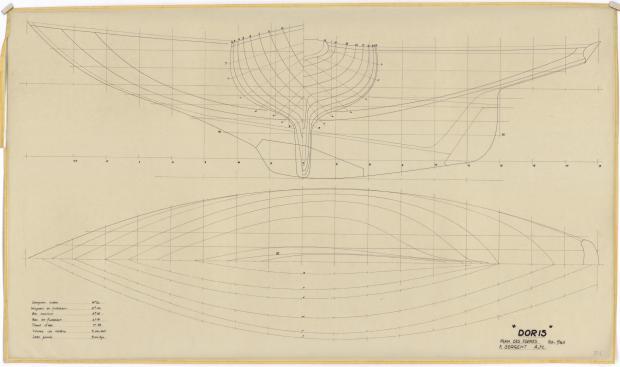 PLAN DE COQUE - VARNA,DORIS, MISTRAL CRUISER RAPIDE 12,20 m (1960)