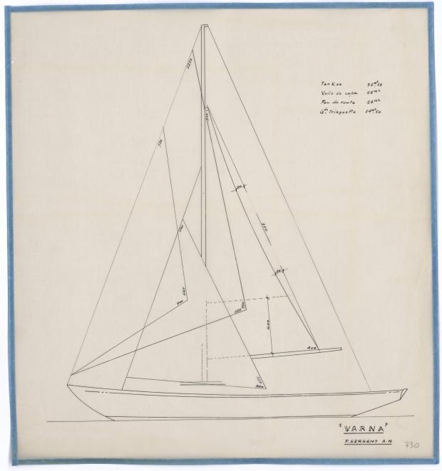 PLAN DE VOILURE/GREEMENT - VARNA,DORIS, MISTRAL CRUISER RAPIDE 12,20 m (1960)