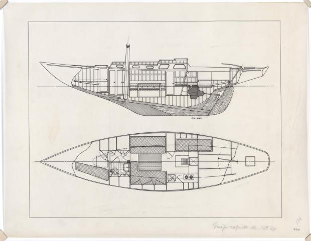 PLAN D'AMENAGEMENT  - VARNA,DORIS, MISTRAL CRUISER RAPIDE 12,20 m (1960)