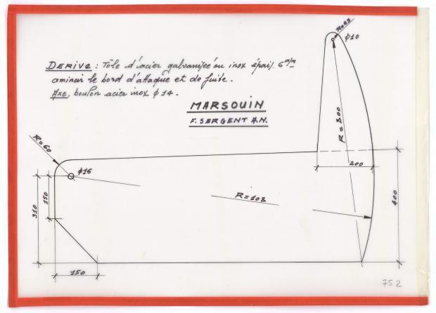 PLAN DE DERIVE/QUILLE - MARSOUIN  5,90 m (1960)