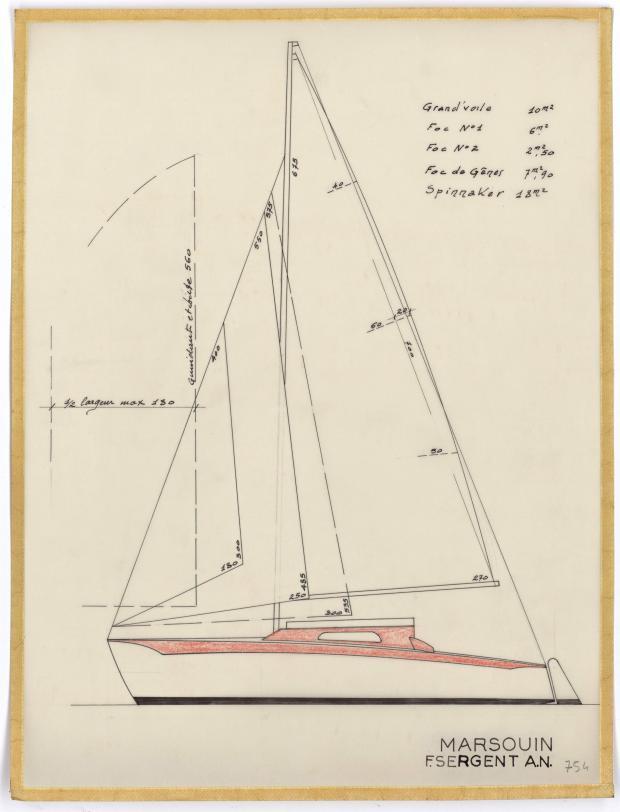 PLAN DE VOILURE/GREEMENT - MARSOUIN  5,90 m (1960)