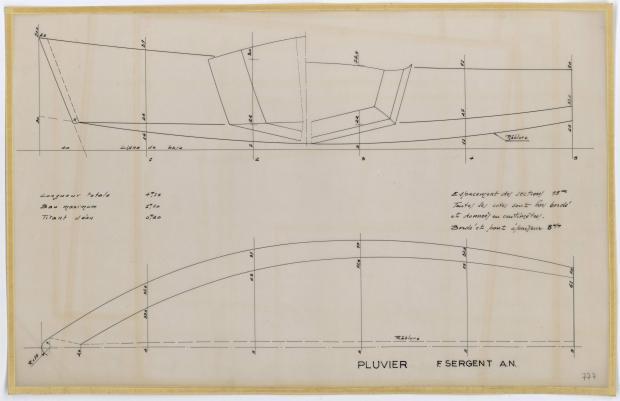 PLAN DE COQUE - PLUVIER DERIVEUR LESTE DE 6,60 m (1961)
