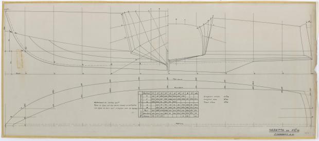 PLAN DE COQUE - VEDETTE 10,75 m (1961)
