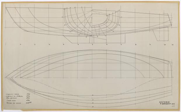PLAN DE COQUE - ASTERIE 7,50 M à Dérive (1961)