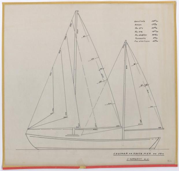 PLAN DE VOILURE/GREEMENT - PATRICIA III CRUISER Hte mer 13 m  (1962)