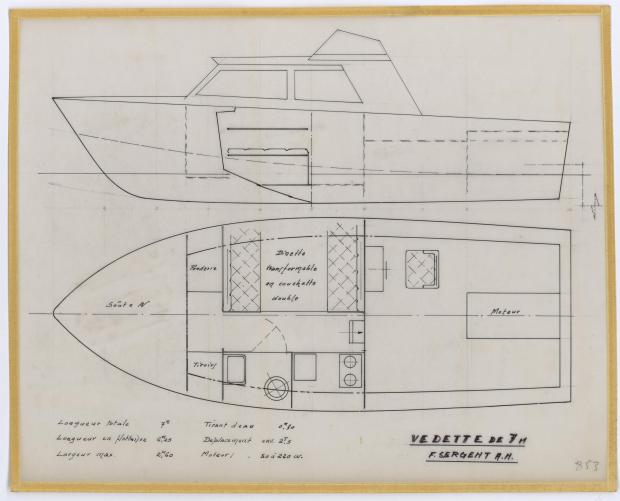 PLAN D'AMENAGEMENT  - VEDETTE DE  5,75 m (1962)