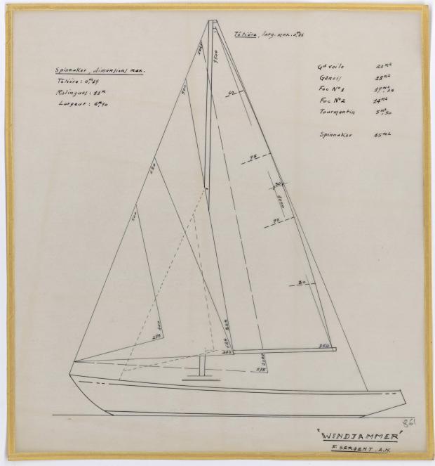 PLAN DE VOILURE/GREEMENT - WINDJAMMER  10 M (1962)