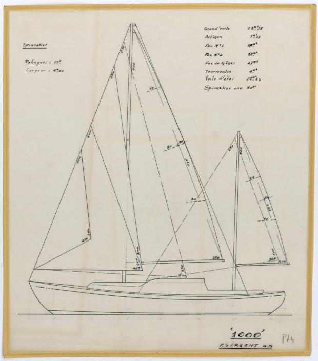 PLAN DE VOILURE/GREEMENT - MILLE MOTOR SAILOR 10 M (1962)