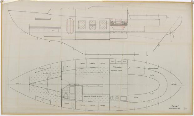 PLAN D'AMENAGEMENT  - MILLE MOTOR SAILOR 10 M (1962)