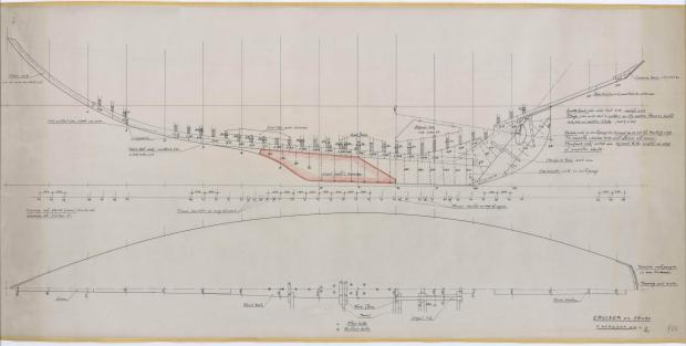 PLAN DE DERIVE/QUILLE - CRUISER  13,50 M (1963)