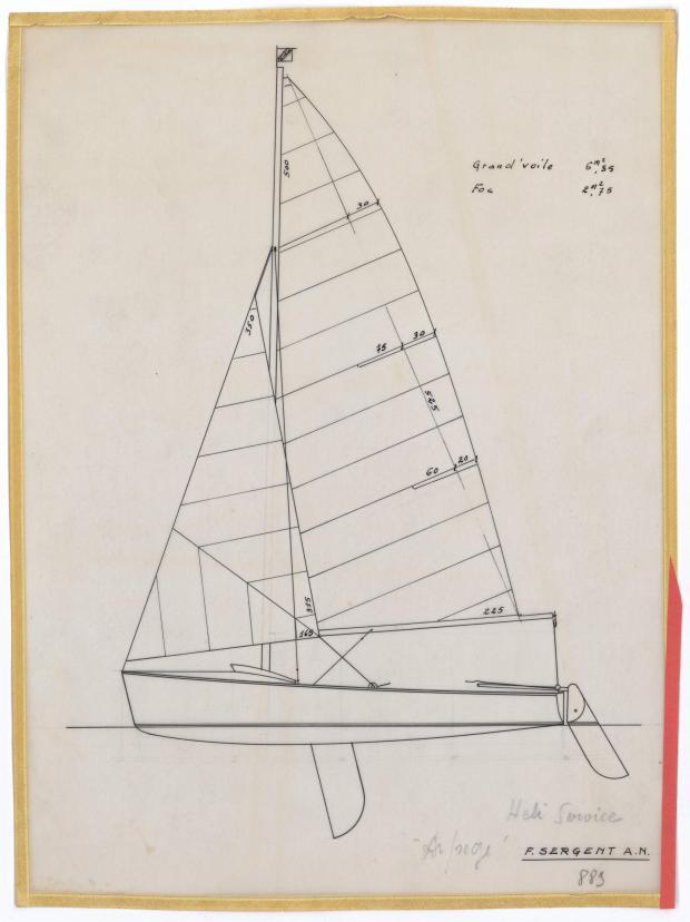PLAN DE VOILURE/GREEMENT - ARPEGE DERIVEUR 4 M  (1963)