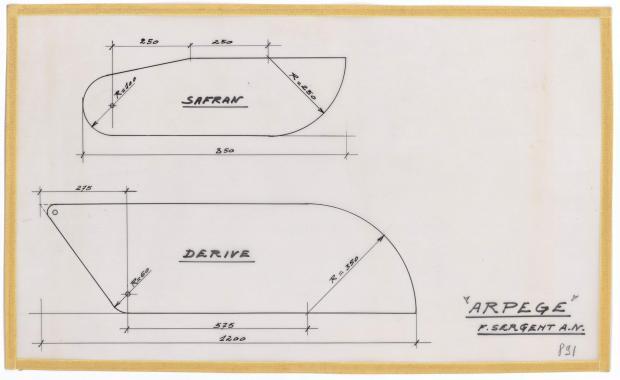 PLAN DE DERIVE/QUILLE - ARPEGE DERIVEUR 4 M  (1963)