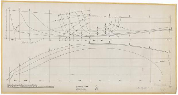 PLAN DE COQUE - ARPEGE DERIVEUR 4 M  (1963)