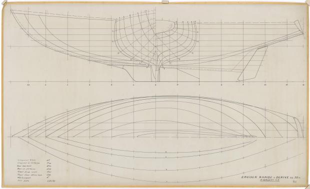 PLAN DE COQUE - CRUISEUR RAPIDE 10 M (1963)