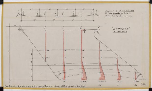 PLAN DE DERIVE/QUILLE - ESPADON 8,50 M (1963)